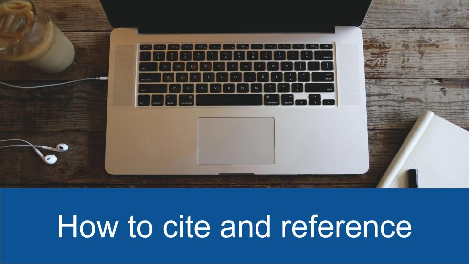 How to cite and reference