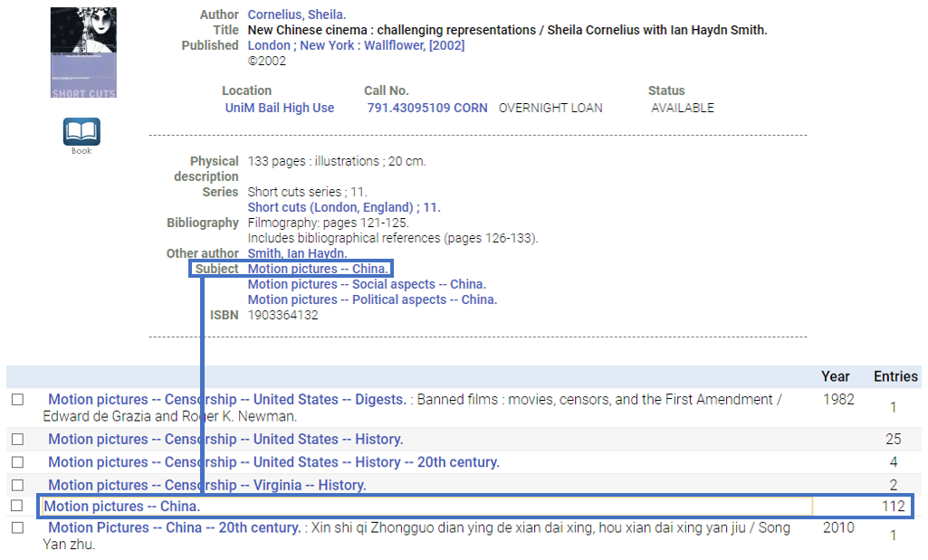 Screenshot of how to use subject headings in the library catalogue. Features a list of subject headings, including