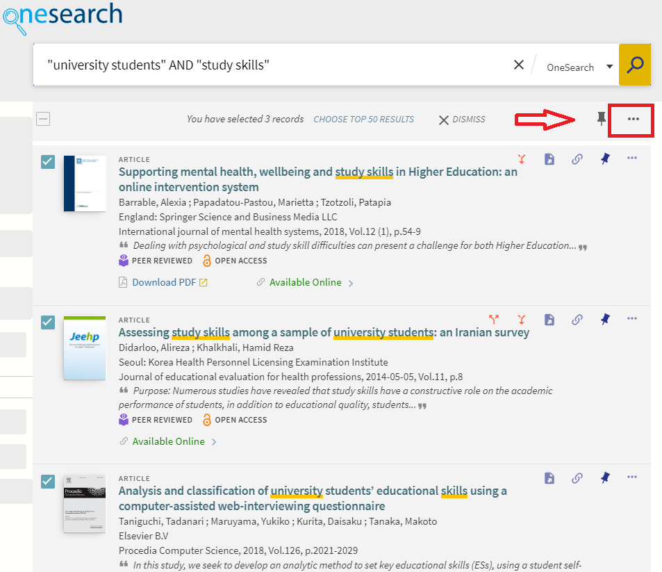 Image OneSearch select items