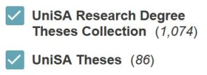 image example of collection filter: UniSA Research Degree Theses Collection and UniSA theses