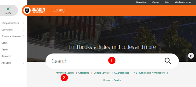 Library homepage showing search box and Advanced Searching button
