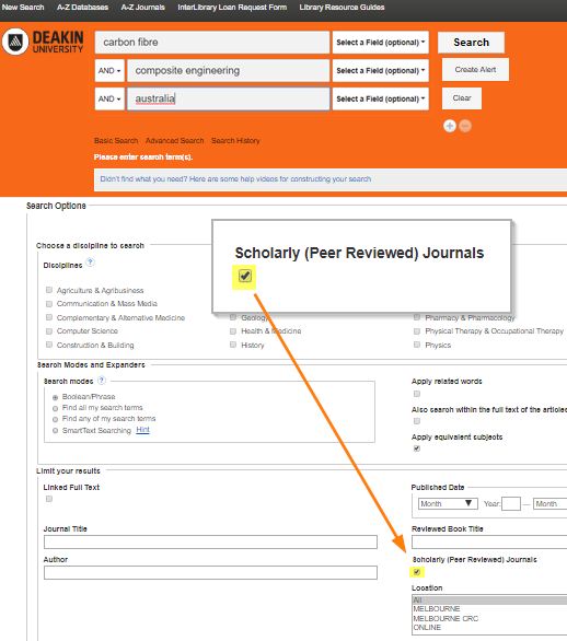 Deakin Library Advanced Search screen with peer review checkbox highlighted