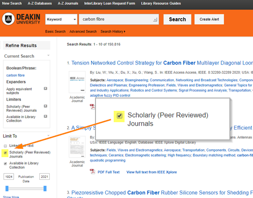 Deakin Library search results showing peer review limiter checkbox highlighted