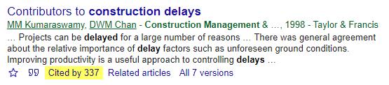 Google Scholar result with citation highlighted