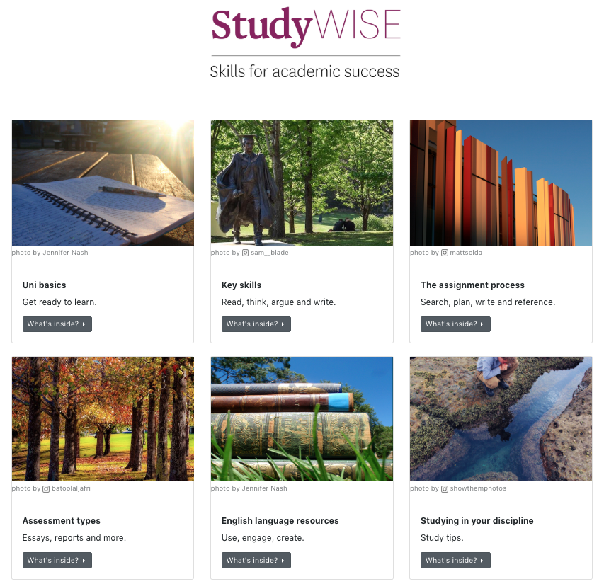Image of StudyWISE iLearn landing page