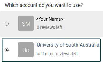 Which accoutn to choose - University of South Australia