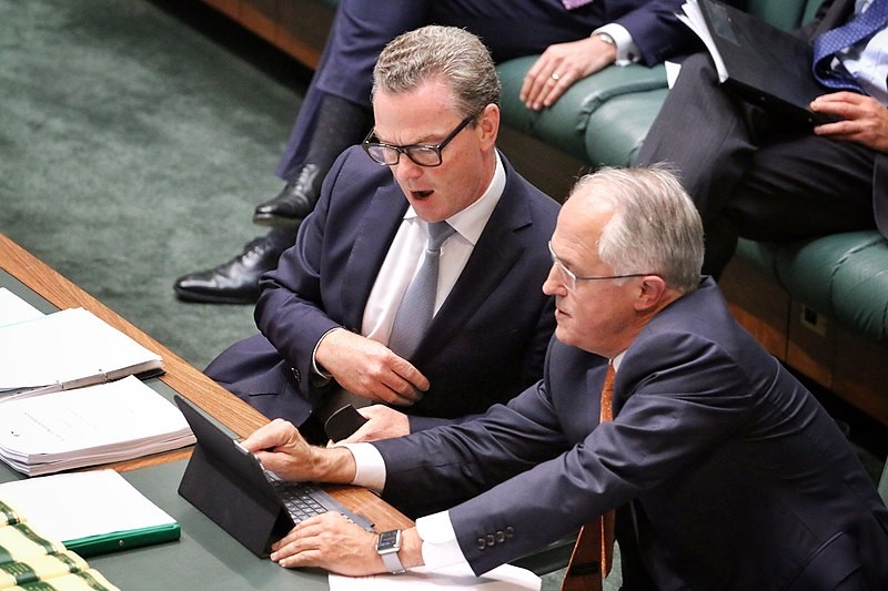 Christopher Pyne, Leader of the House, with Malcolm Turnbull, Prime Minister of Australia, in the Australian House of Representatives