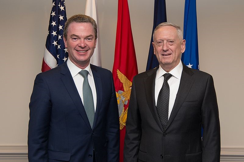 Defense Secretary Jim Mattis stands with Australia's Minister for Defence Industry Christopher Pyne before an office call at the Pentagon in Washington, D.C.