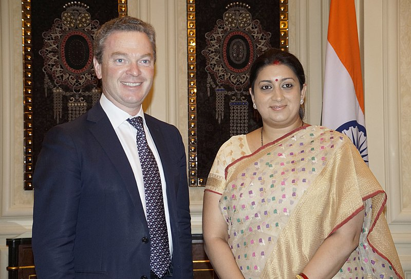 Smt. Smriti Irani at a bilateral talk with Christopher Pyne ahead of the annual meeting of the Australia-India Education Council (AIEC) meeting