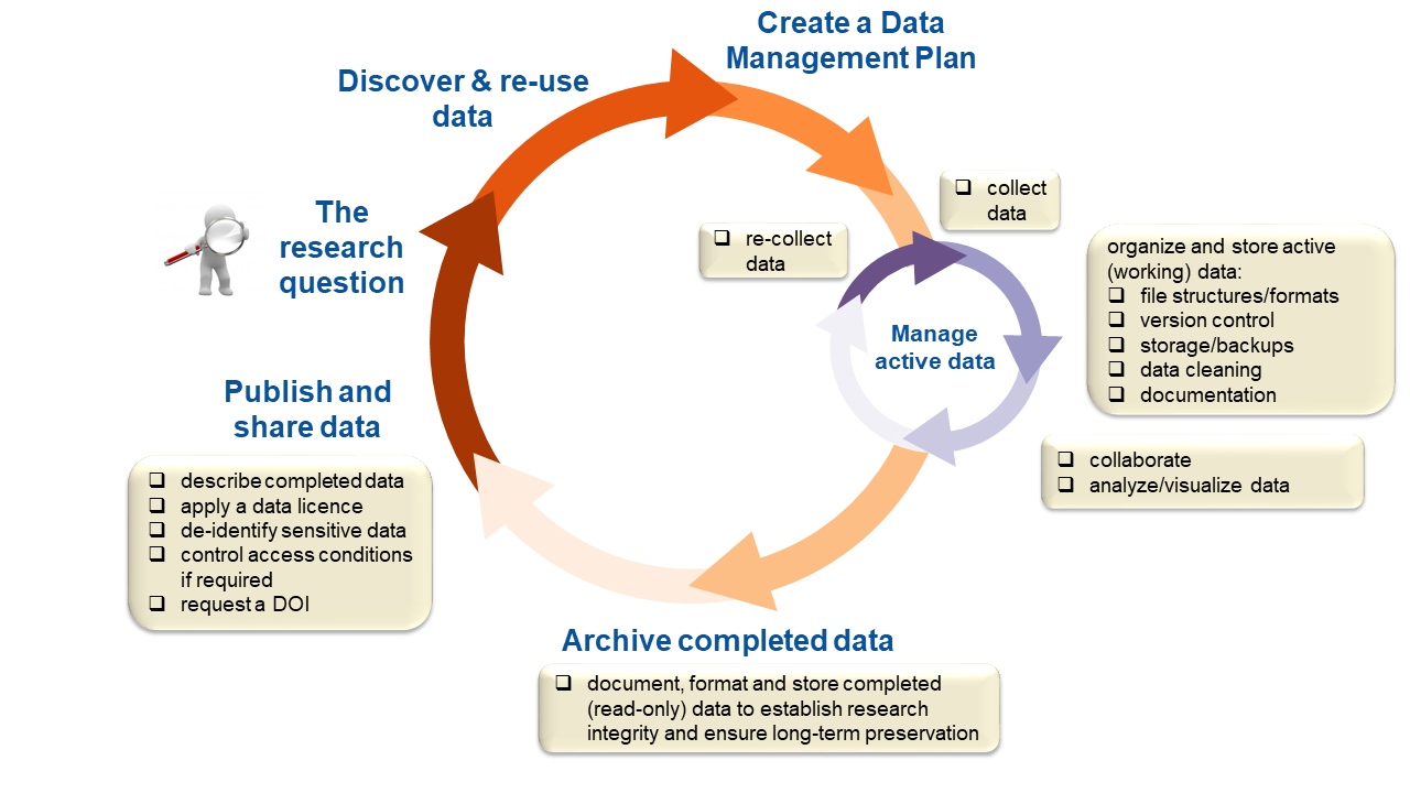 illustration of the stages the rdm lifecycle, from planning to reuse of data