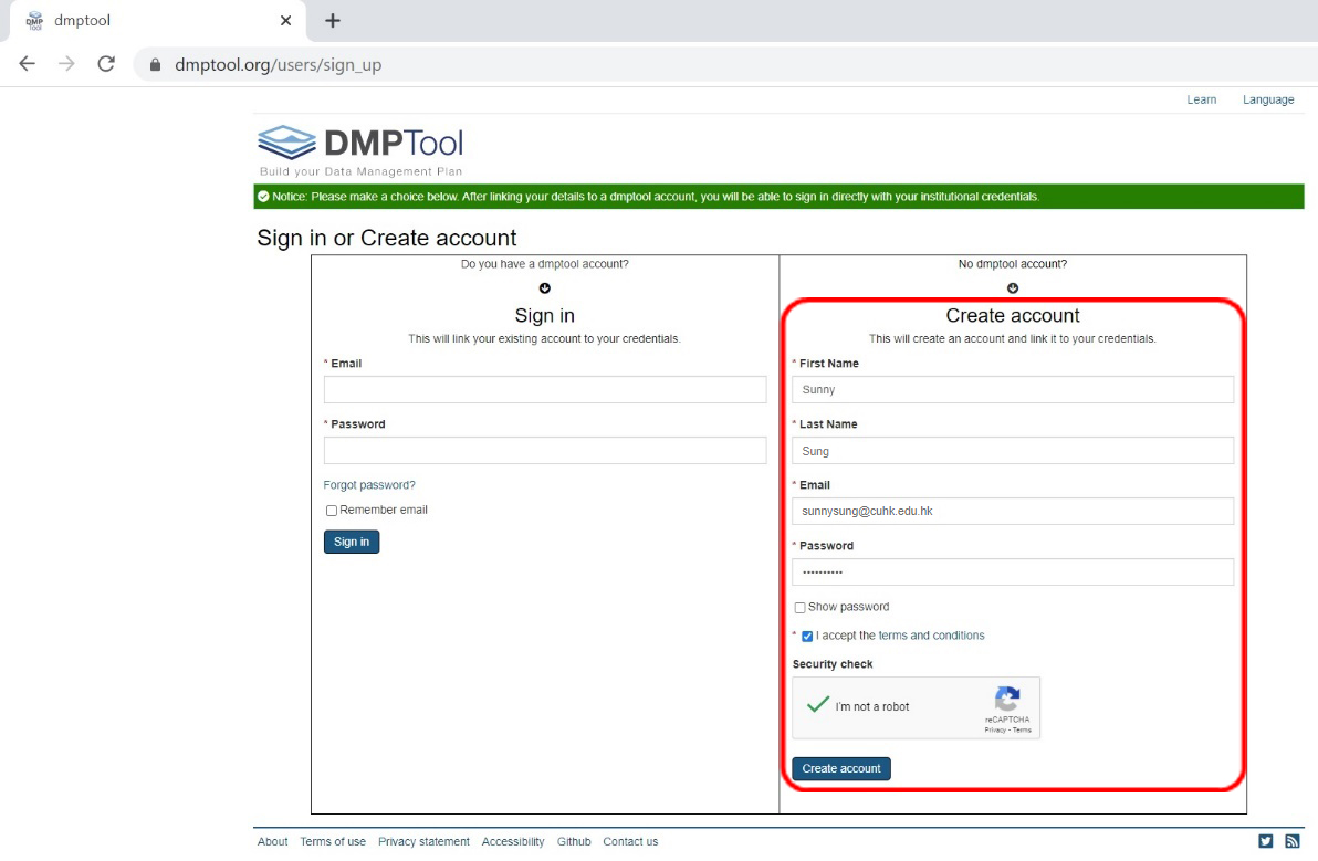 Create a DMPTool account for the first time access