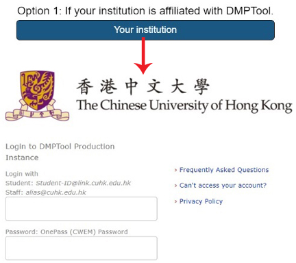 Sign in by Option 1: Your institution
