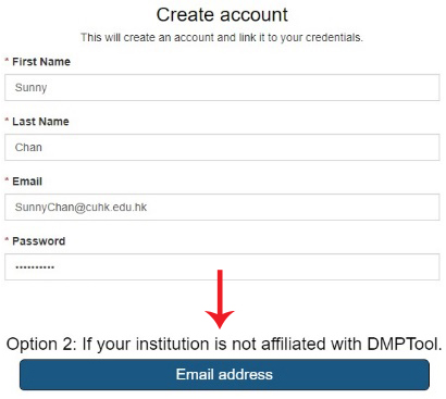 Sign in by Option 2: Email address