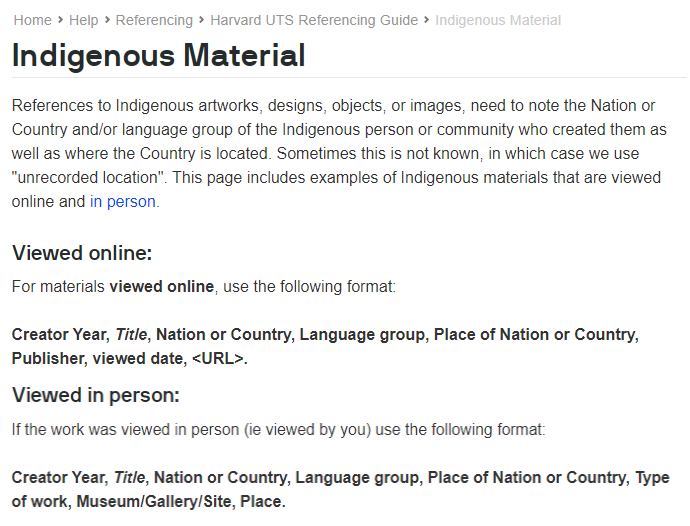 Harvard UTS Referencing Guide - Indigenous Materials page