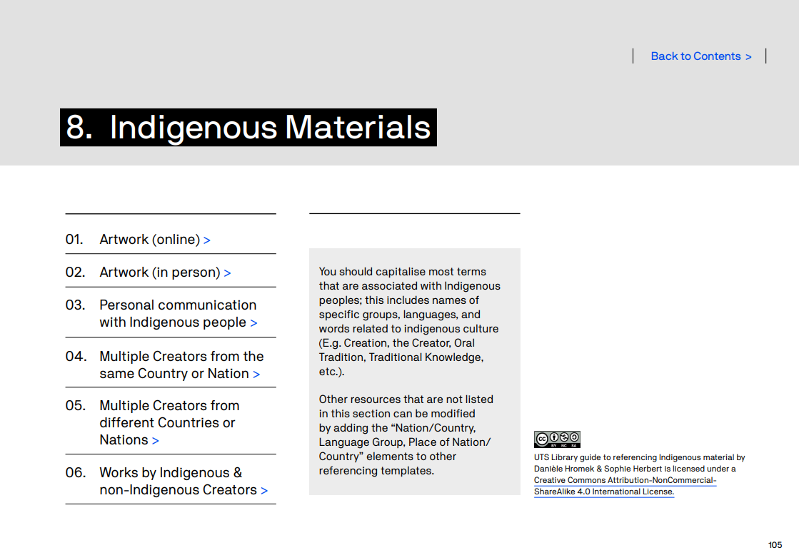 APA referencing guide - Section 8 Indigenous Materials