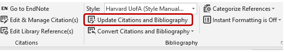Screenshot of EndNote CWYW, updating citations and bibliography in Word.