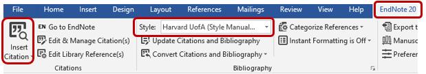 Screenshot of Microsoft Word Cite While You Write feature.