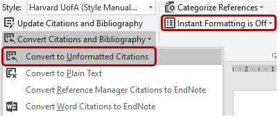 Screenshot of EndNote CWYW showing how to convert from formatted to unformatted citations.