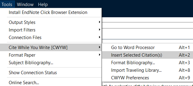 Screenshot demonstrating inseting a citation from EndNote to Word (in EN).