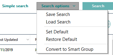 Screenshot of Advanced search options in EndNote