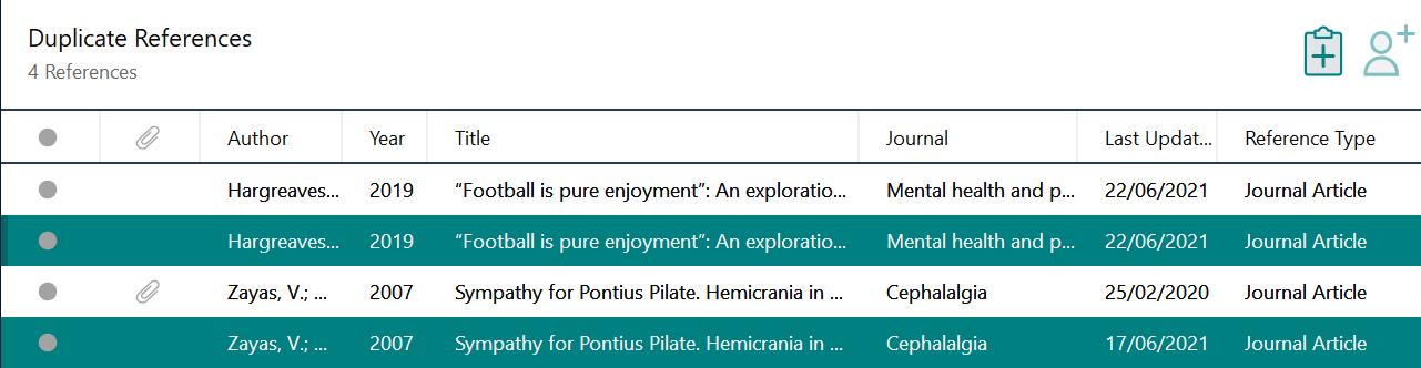 Screenshot of EndNote duplicates group list.
