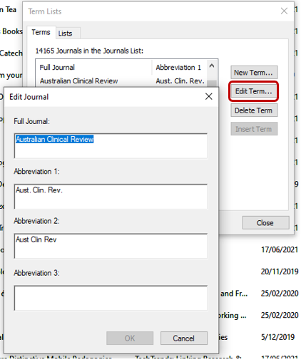 Screenshot demonstrating how to edit items in term lists in EndNote