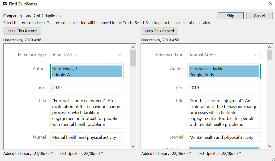 Screenshot showing the EndNote dialogue box comparing duplicate records.