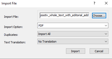 Screenshot of import PDF dialogue box in EndNote.