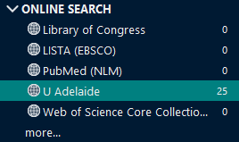 Screenshot of EndNote online search options in the left menu.