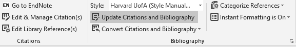 Screenshot showing command to update citations and bibliography in CWYW.