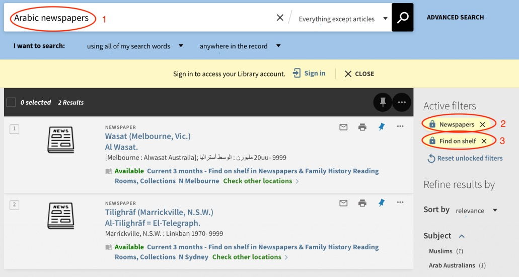 Catalogue search and results for Arabic newspapers available on the shelf