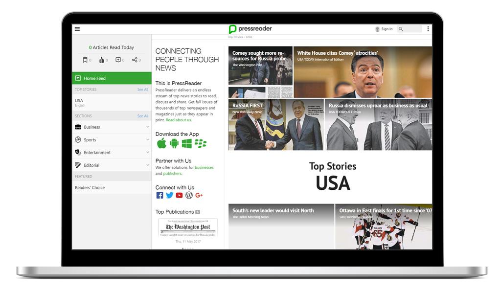 PressReader web