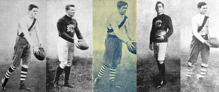 Carlton and South Melbourne players from the 1909 grand final