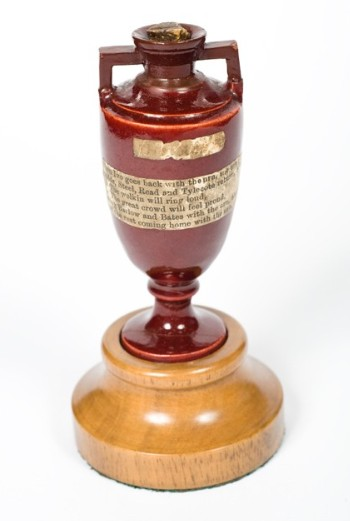 Ashes urn (Marylebone Cricket Club, Lords, London). The  urn was on display in the exhibition until 23 February 2020.