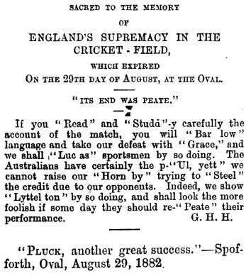 Cricket a weekly record of the game 31 August 1882 p.262