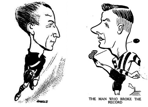 Caricatures of Richmond player Maurie Hunter and Collinwood's Gordon Coventry