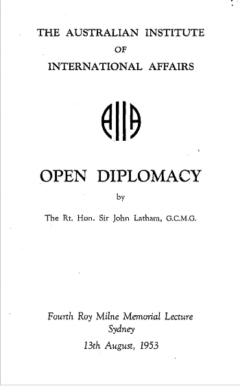 Open diplomacy pamphlet