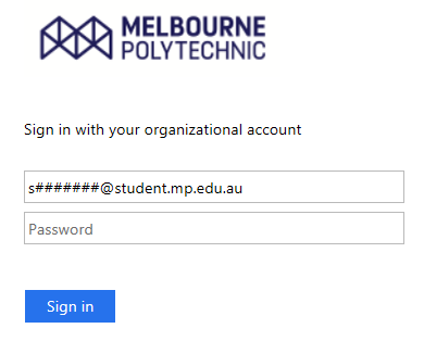 Enter your Melbourne Polytechnic email address and password