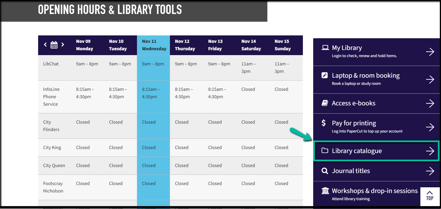 Screenshot of the VU Library homepage section headed 'Opening hours & Library tools', with the link to the Library Catalogue highlighted in Library Tools.