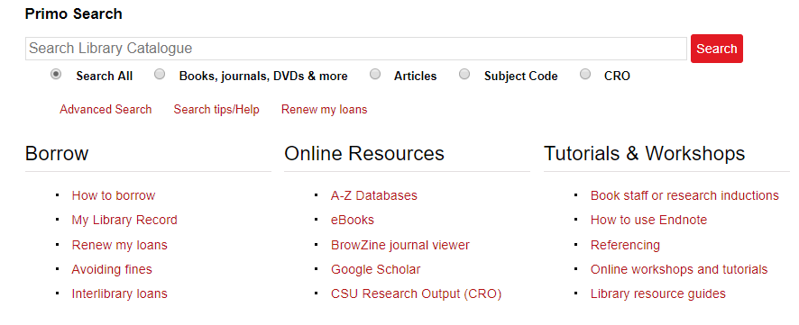 The Libary homepage has a column of links to Online Resources, and A-Z Databases is the first one listed.