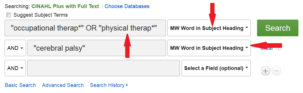 CINAHL search screen showing the search for occupational therapy OR physical therapy AND cerebral palsy as subject headings