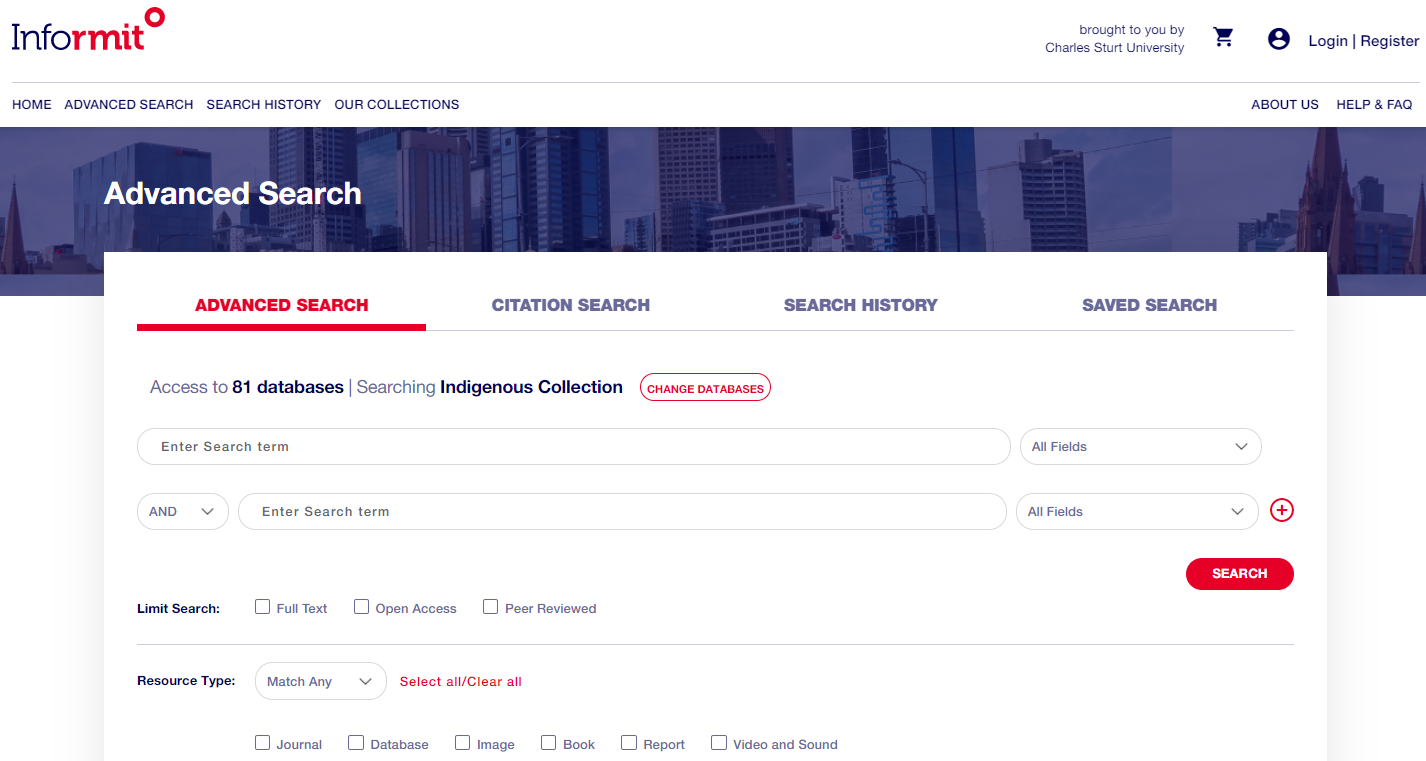 The Informit advanced search screen has multiple boxes for search terms, and ways to limit your results