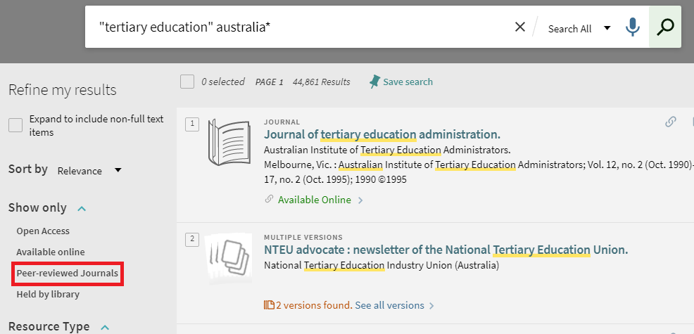 In Primo Search, the refiner for Show Only > Peer Reviewed Journals appears to the left of the results list