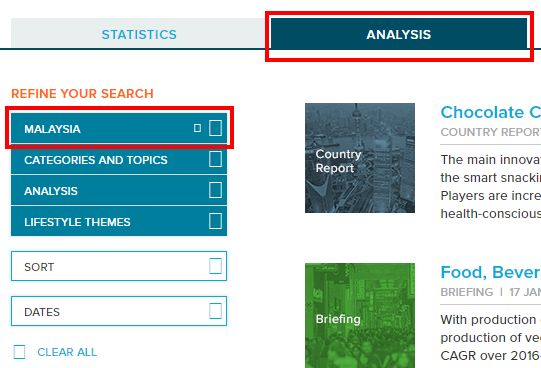 GMID analysis tab and search refinements
