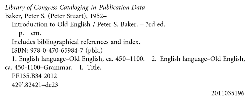 This image shows the Library of Congress Cataloging-in-publication data for a book. The LOC number is towards the bottom of the image.