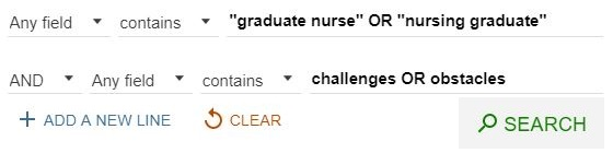 Advanced Library catalogue search for graduate nurse or nursing graduate and challenges or obstacles