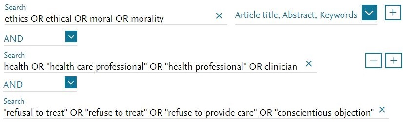 Advanced search with search strategy: ethics or ethical or moral or morality on the first line, and health or health care professional or clinician on the second line, and refusal to treat or refuse to treat or refuse to provide care on the third line.