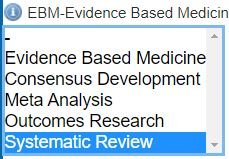 Screenshot of Evidence-Based Medicines filters, systematic reviews highlighted.
