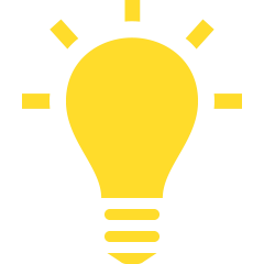 Yellow light bulb idea icon.