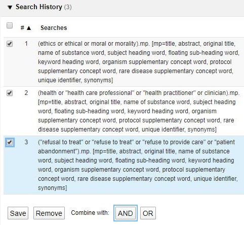 Medline search history showing each concept as its own search line. Selection boxes next to each line are ticked. Lines will be combined using the and button at the bottom of the search history.